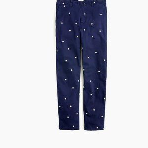 J.Crew Vintage Straight Pant in Polka Dot Stretch